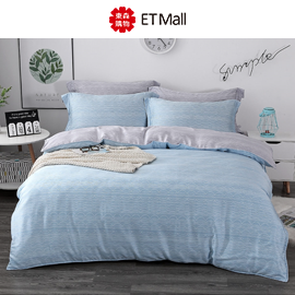 HOYACASA藍調旋律 雙人四件式抗菌60支天絲兩用被床包組