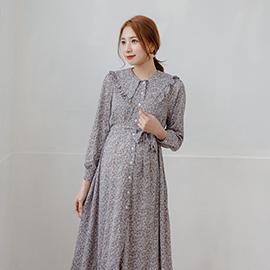 日系小媽咪孕婦裝 滿版小碎花荷葉披巾領排釦雪紡洋裝