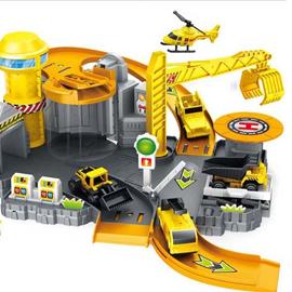 工程停車場 拼裝玩具 軌道停車場 停車場玩具