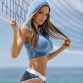 歐美新款性感健身露臍U領晨跑瑜伽運動連帽背心上衣 多色 WH72442
